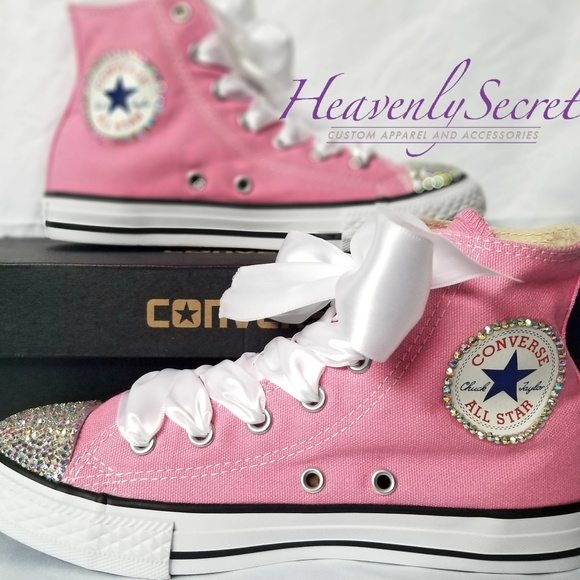 809f464334aa Toddler Pink High Top Custom Blinged Converse